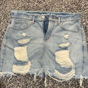Express Distressed Denim Skirt